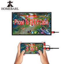 HOMEBARL 2 M 3 In 1 Für iphone IOS Micro Typ C Zu 2 K HDMI HDTV Kabel HD Video spiele Digital TV AV Verstärker Konverter Adapter(China)