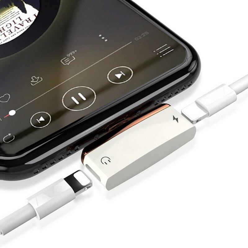 Vrurc 2 en 1 para iPhone X cargador adaptador para relámpago adaptador carga rápida para el teléfono 7 8 divisor adaptador de auriculares