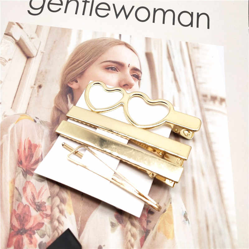 2/4Pcs/set Korea Simple Metal Hair Clips for Women Geometric Rhombus Barrettes Vintage Hairpins Set Pearl Hair Pin Accessories