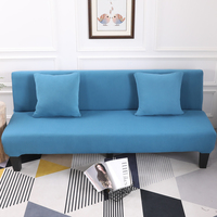 Lake Blue All Inclusive Slip Resistant Armless Sofa Cover Folding Sofa Bed Cover Removable Elastic Stretch