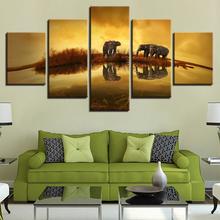 Canvas Painting Home Decor Wall Art Framework 5 Piece Animal Elephant Sunset Lake Landscape Picture For Living Room Print Poster