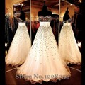 Brilliant Evening Dresses Beaded Sequined Sweetheart Neckline Champagne Formal Prom Dress Backless Long Tulle Prom Gown
