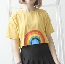 T-shirt high waist LGBT rainbow girl sport yoga les Smock women Blouse unisize tops outerwear