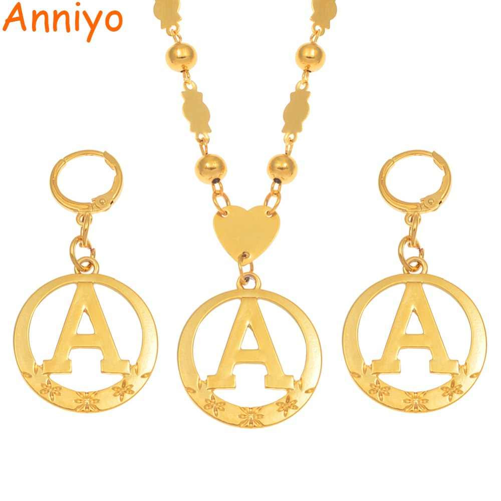 Anniyo A-Z 60CM Beads Letters Necklaces Gold Color Marshalls Initial Alphabet Ball Chains Micronesia Jewelry #128006