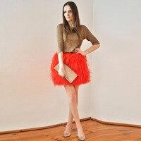 Şık 2017 yılında Tüy Etek Havuç Kırmızı Haute Couture Göz Alıcı Lolita Kısa Tüyler Özelleştirilmiş yılında Butik Saias Etek