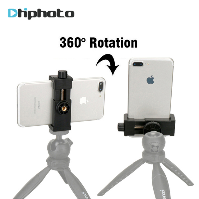 Phone Tripod Mount Cell Phone Clipper Vertical Bracket Smartphone Clip Holder 360 Adapter for iPhone X 8 7 Plus Samsung S8 S9