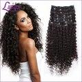 Africano americano grampo no cabelo humano extensions curly brasileiro virgem cabelo nutural extensões de cabelo preto