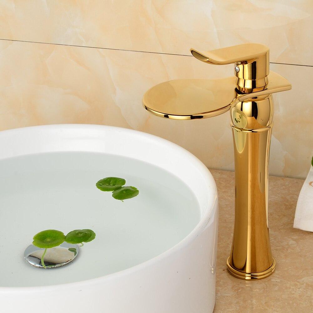 Gold One Handle Bathroom Sink Faucets. Golden Double Handles ...