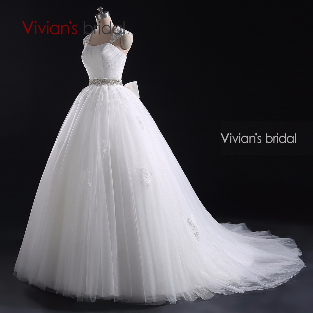 Vivian Wedding Gown: Vivian's Bridal White Ball Gown Cap Sleeve Detachable