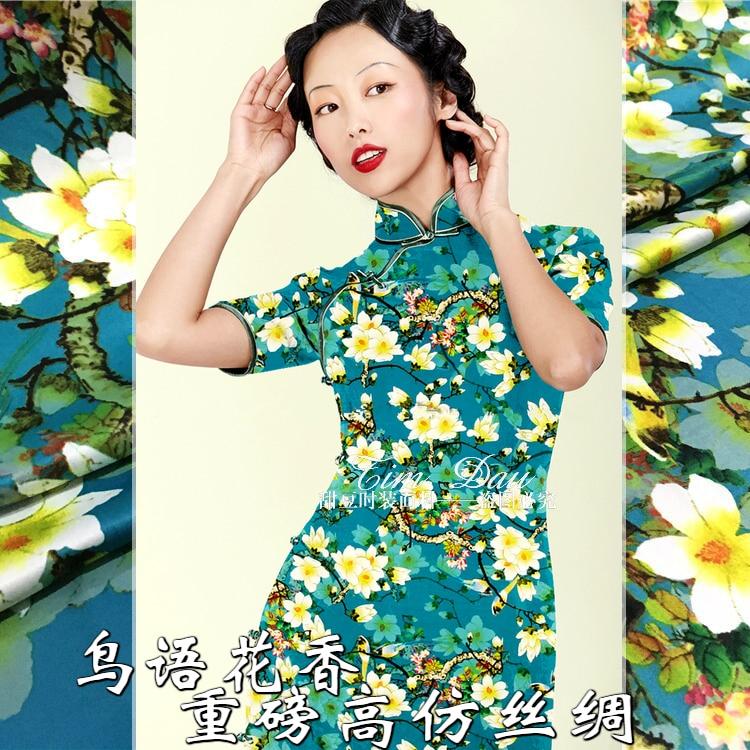 150cm heavy retro printed fabric high imitation silk plum print dress chinese material wholesale cloth