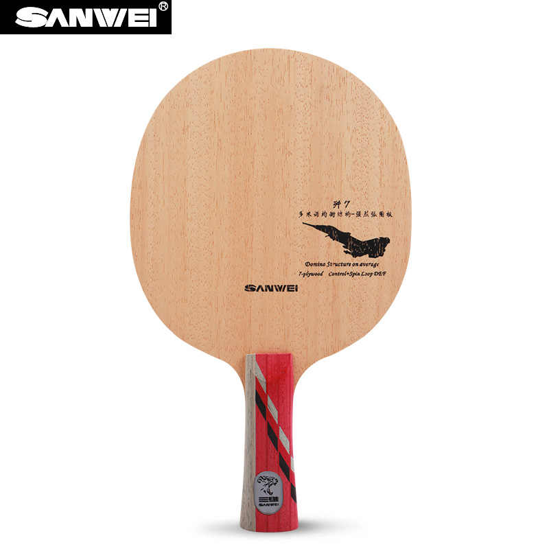 Sanwei J-7 Defensive (J7, 7 Ply Even Wood, Light Weight, DEF) Table Tennis Blade Racket Ping Pong Bat Paddle