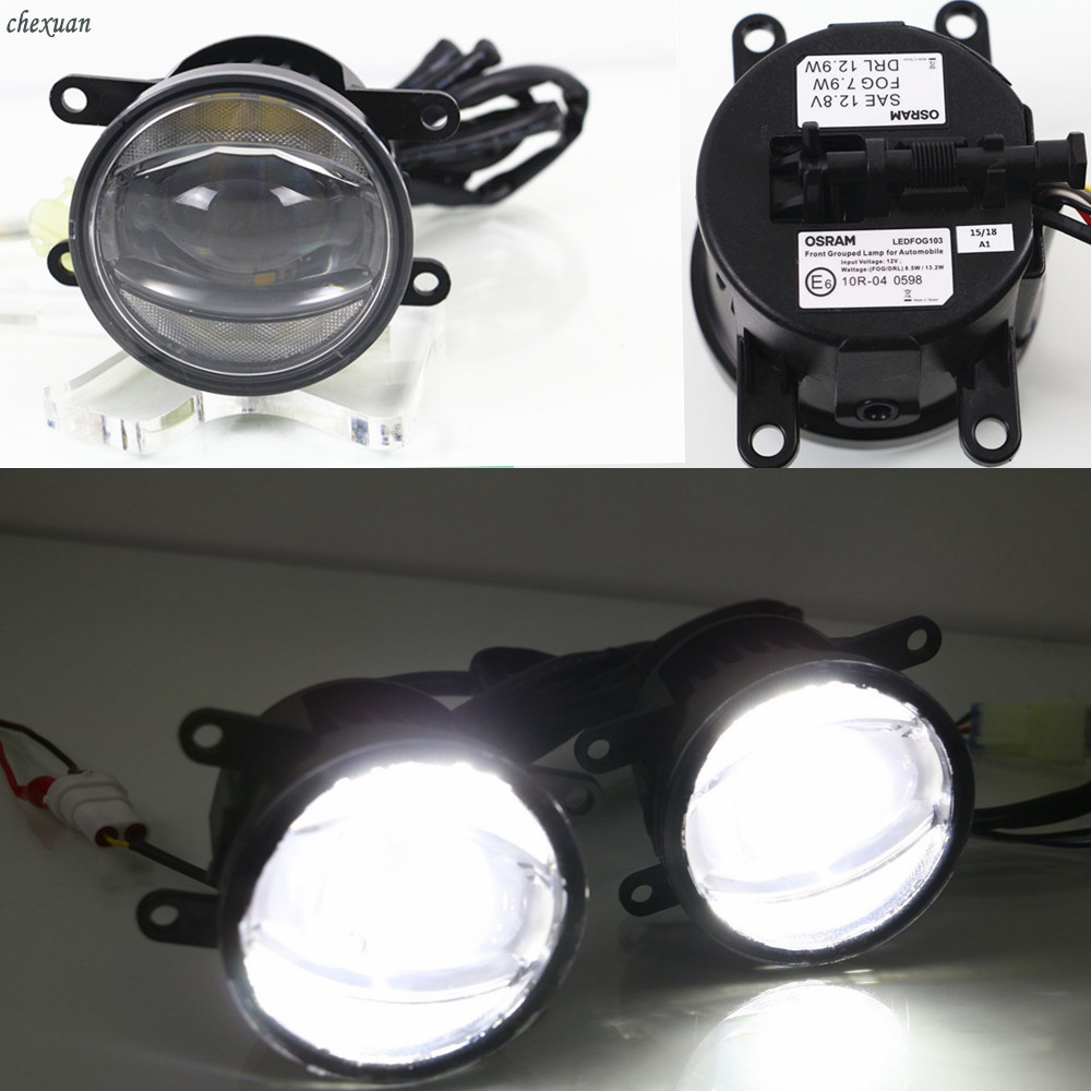 CSCSNL 2 Pcs 12V LED DRL Daytime Running Lights And Fog Lamp For Renault Megane II
