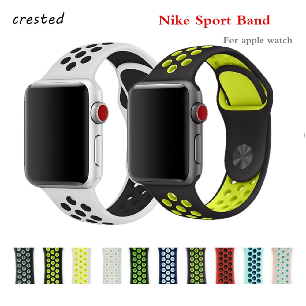 все цены на CRESTED sport band for apple watch 3 42mm 38mm NIKE silicone bracelet iwatch 3 2 band wrist band  Rubber smart watch band strap онлайн