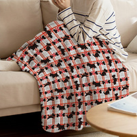 WARMTOUR Throw Blanket Red Striped Bow And Puppy Throw Blanket Soft Warm Microfiber Blanket