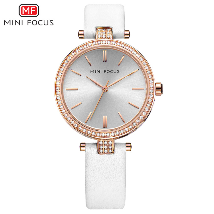 MINI FOCUS Brand Luxury Women Watches Quartz Rhinestone Wrist Watch for Women Leather Casual Ladies Watch