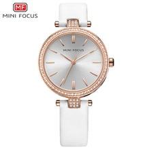 MINI FOCUS Marque De Luxe Femmes Montres Quartz Strass Montre-Bracelet pour les Femmes En Cuir Dames Occasionnels Montre Horloge Relogio Feminino