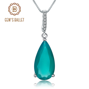 Image 1 - Gems Ballet 7.89Ct Natural Green Agate Gemstone Pendant  925 sterling Silver Necklaces&Pendants For Women Fine Jewelry