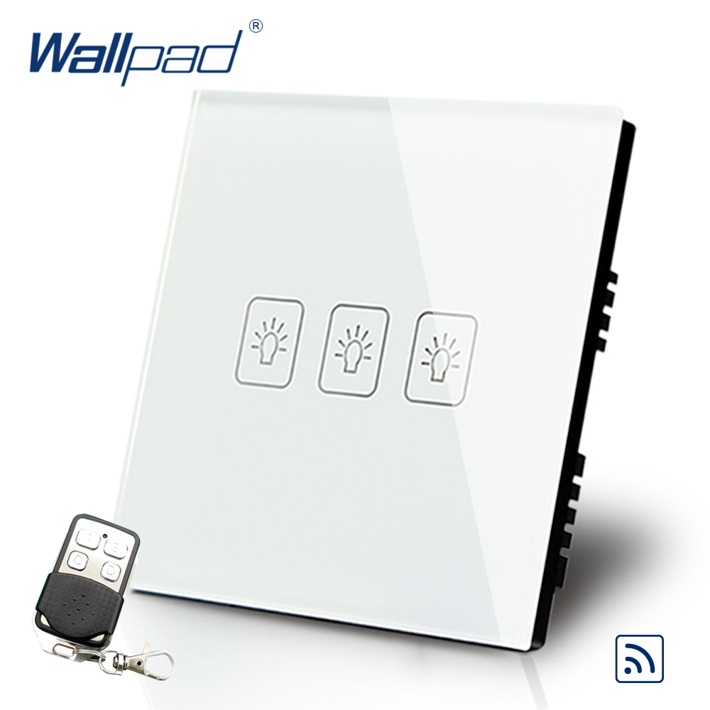 White 3 Gang 1 Way Remote Control Touch Switch Crystal Glass Switch Wallpad Luxury UK Standard Switch With Remote Controller smart home luxury crystal glass 3 gang 1 way remote control wall light touch switch uk standard with remote controller