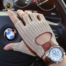 2020 Latest Man Locomotive Half Finger Sheepskin Gloves Knitted + Leather Driving Gloves Male Semi Finger Fitness Gloves M 61