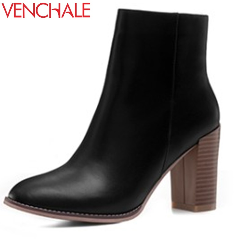 VENCHALE ankle boots woman fashion genuine leather thick high heel round toe side zipper party shoes good quality winter booties front lace up casual ankle boots autumn vintage brown new booties flat genuine leather suede shoes round toe fall female fashion