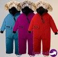 Rimoer de Inverno 2016 do bebê para baixo casaco roupas de Bebê outerwear das crianças roupas de Pele Com Capuz para baixo casacos Newborn Criança jumpsuit romper