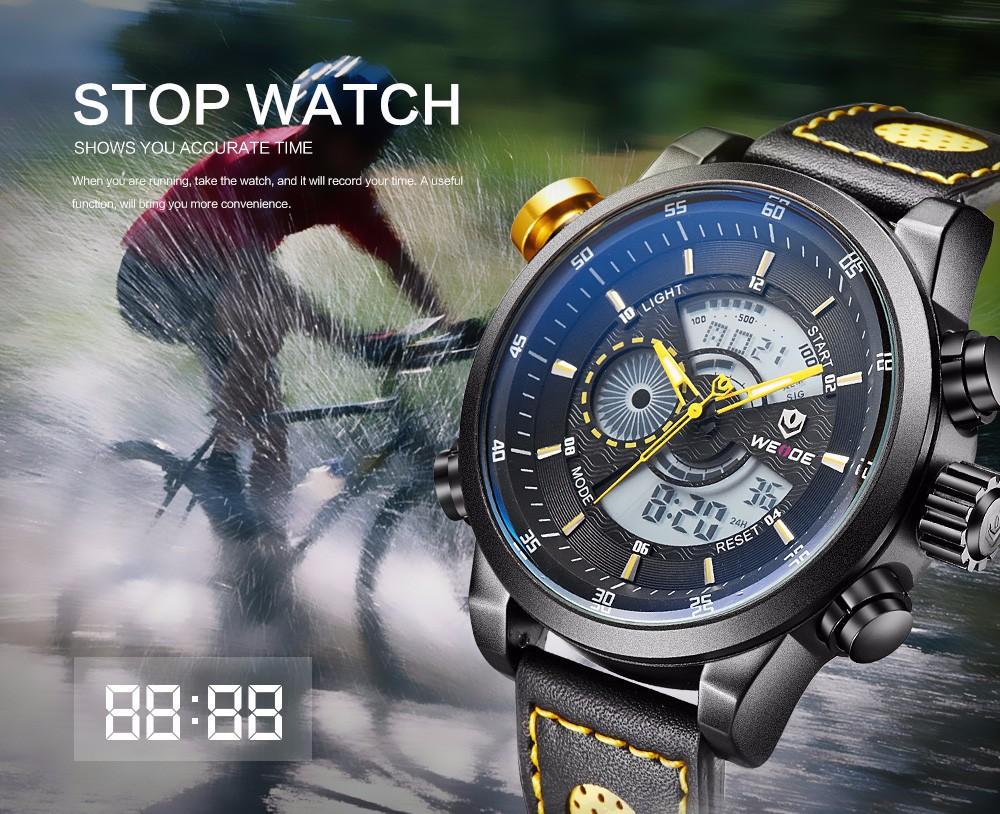 Weide WH3401 Sport Watch 3ATM Quartz Digital Yellow Hands