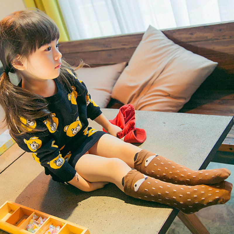 Toddler Knee High Socks Baby Boys Bebe Girls Fox Socks Soft Anti-slip Cotton Cartoon Animal Cat Leg Warmers For Infant Newborn