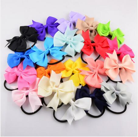 bow girls kids elastic hair bands rubber band satin ribbon bows accessories for girls hair ties rope Scrunchie Ponytail Holder boutique handmade dot kids girls hair ties elastic tiara bows satin flower hairbows headbands hairband floral accessories mt 36