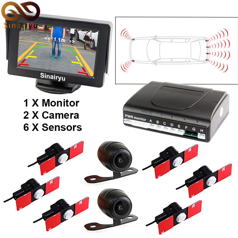 Car Parking Sensors 13mm Flat Sensors Reverse Backup Radar Reverse Backup CCD Car Front / Rear View Camera With 4.3 Car Monitor for ford escape maverick mariner car parking sensors rear view back up camera 2 in 1 visual alarm parking system