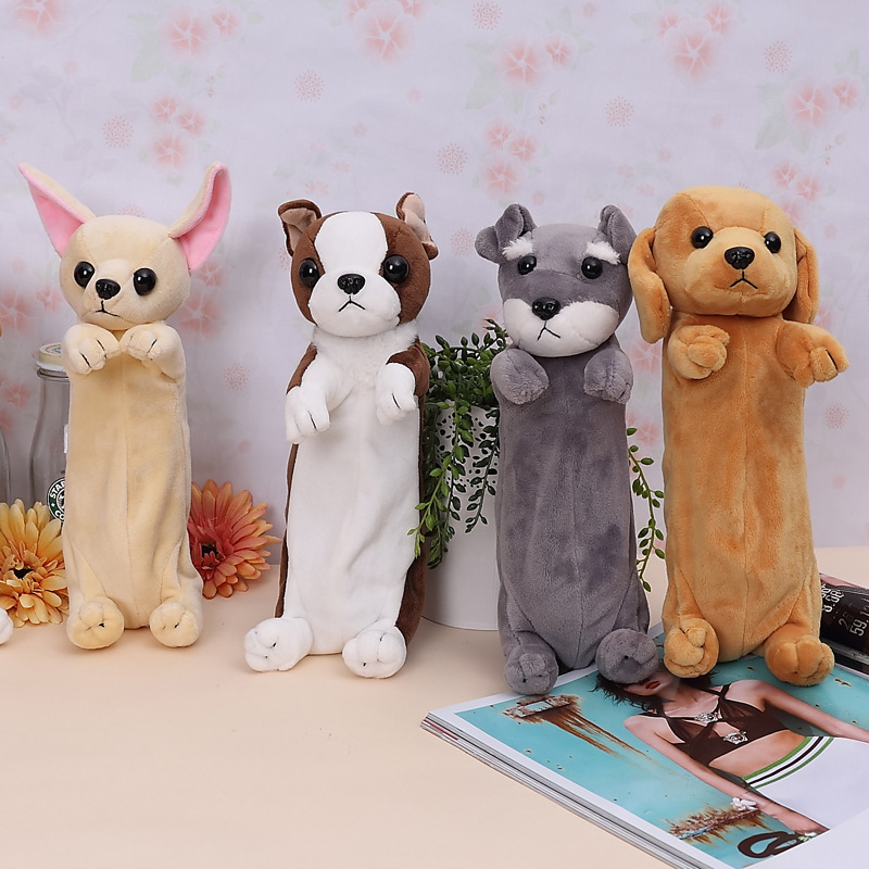 2018 New Kawaii Cartoon Plush Dog Pencil Case Cute Animal Pen Bag Box For Kids School Supplies Material Korean Stationery tiffany baroque vintage stained glass iron mermaid wall lamp indoor lighting bedside lamps wall lights for home ac 110v 220v e27