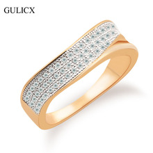 GULICX 2016 High Quality Finger Mid Ring for Women  Gold Platinum Plated Ring Luxury Crystal Cubic Zirconia Wedding Band R251