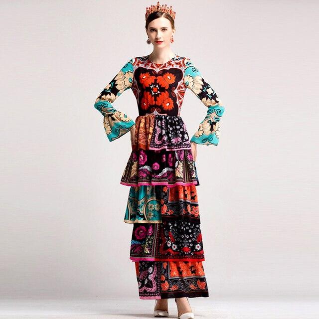 9dec83a8a80 HIGH QUALITY Fashion 2017 Designer Runway Maxi Dress Women s Elegant Long  Sleeve Retro Floral Printed Cake Ruffles Long Dress