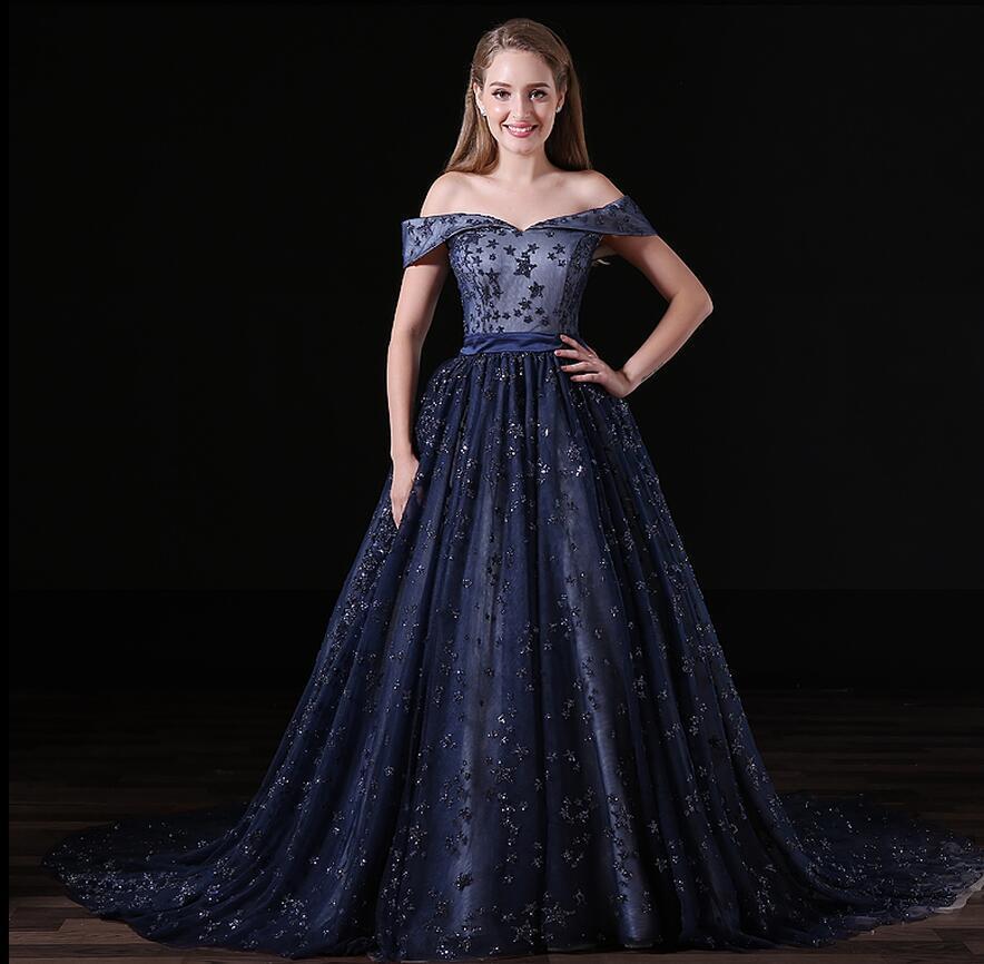 Elegant Navy Blue Evening Dress A Line Off The Shoulder