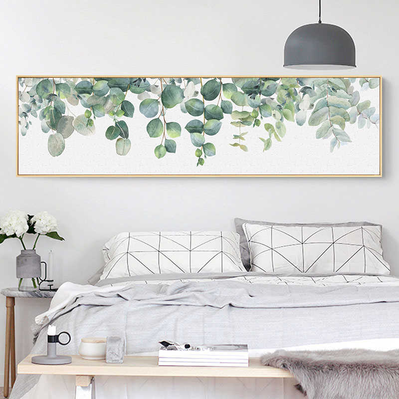 Home Decor Nordic Style Painting Green Leaves Watercolor Leaf Wall Art Poster Canvas Prints Scandinavian Picture Living Room