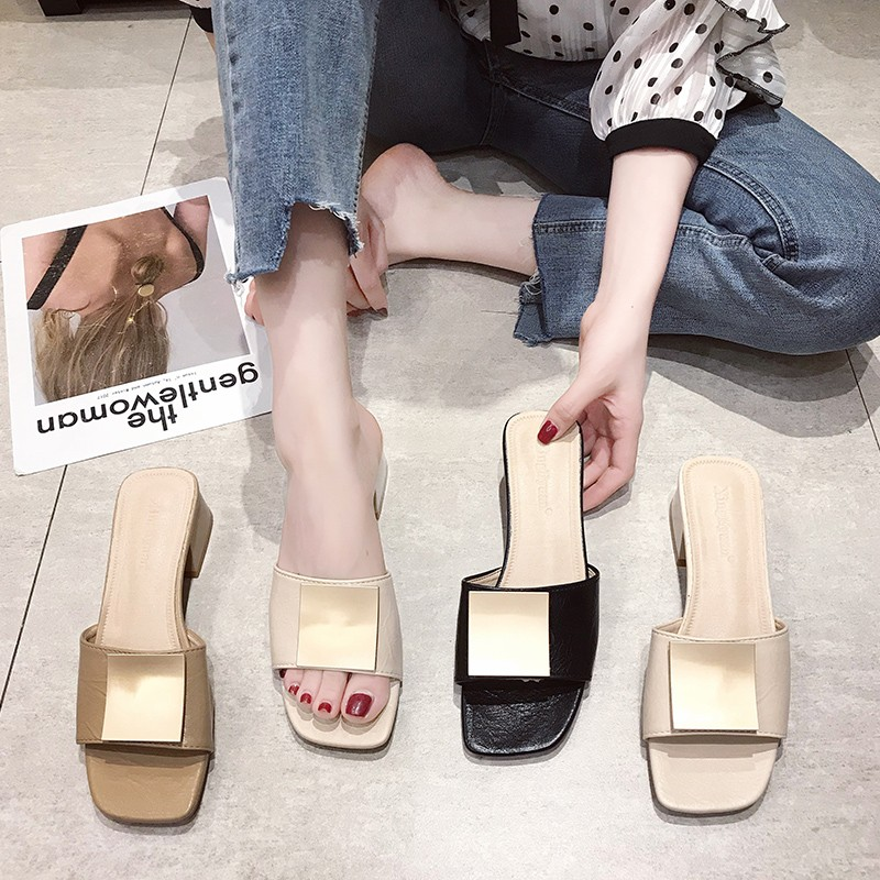 Cremulen 2019 New Summer Women Open Toes Slipper Med Square Heels Metallic Sandals Outdoor Lady Shoes