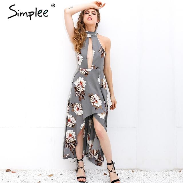 Simplee Seksi halter baskı dantel yaz elbiseler kadın Boho asimetrik uzun elbise Yüksek bel backless plaj elbise