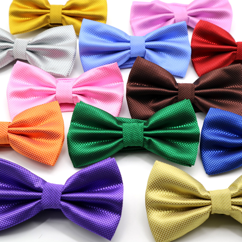 Adjustable Men's Solid Color Polyester Silk Bow Tie Gentleman Butterfly Bowties Wedding Business Plaid Checks Bow Neckties Gift
