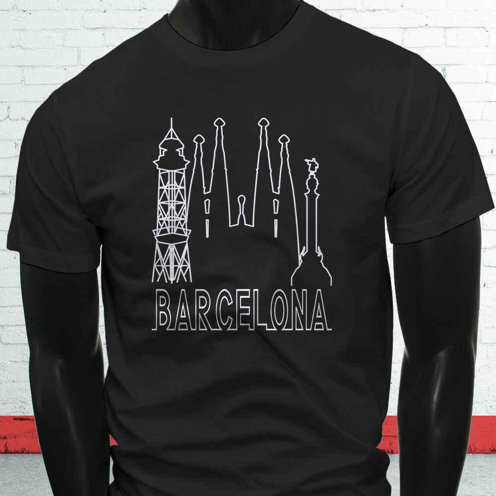 Barcelona Skyline Spanien Familie Stolz Tourist Liebe Herren Schwarz T-Shirt