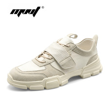 Купить с кэшбэком Spring Comfortable Men Shoes High Quality Fashion Sneakers Lace Up Leather With Canvas Outdoor Shoes Men