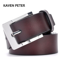 Genuine Leather Belt Luxury Solid Strap Male Belts For One Layer Leather Men Pin Buckle Black