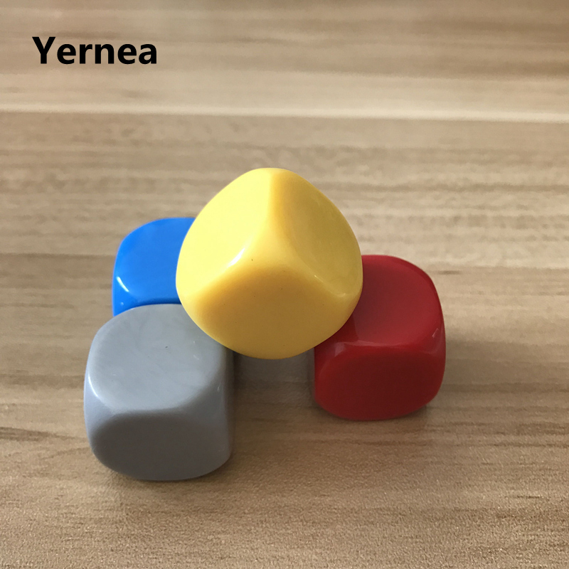 Yernea 20Pcs/Lot 22mm Blank Dice Round Corner Acrylic Hexahedron Blank Dice Can Write Color Creativity DIY Wholesale Dice Set