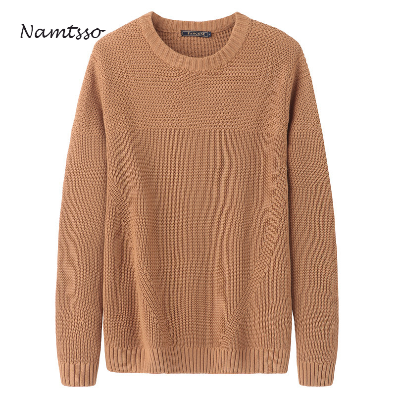 100% Cotton Outdoor Knit Men's 2018 New Autumn Winter New Coloured O Neck Long Sleeve Sweater Cotton Hit Color 244