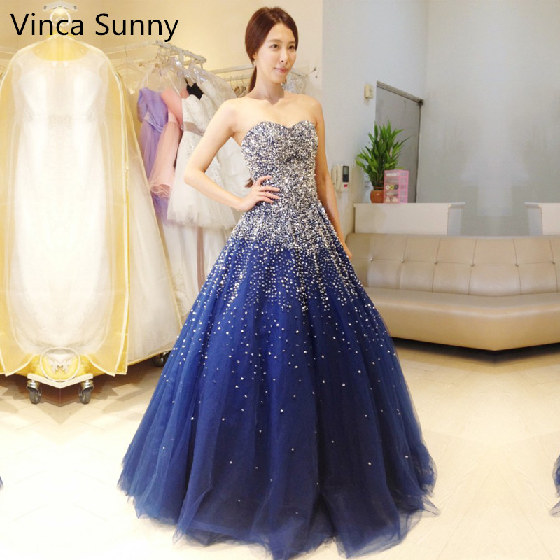 Vinca Sunny Blue Quinceanera Dresses for 15 years Backless Beaded Tulle Ball Gown Vestidos De 15 Anos Formal Party Gown