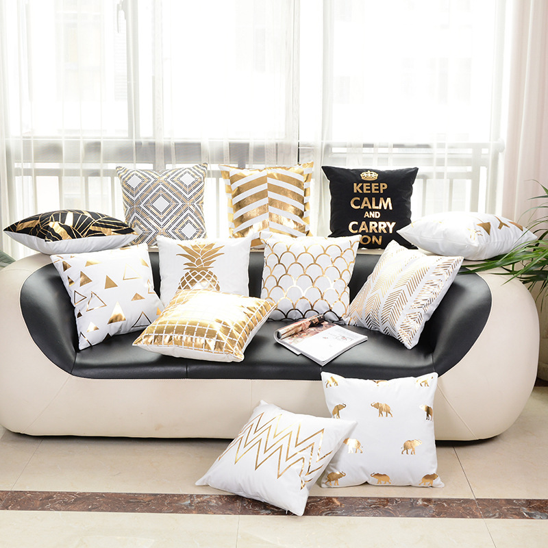 Puredown Geometry Bronzing Cotton Polyester Bohemian Printed Pineapple Tropical Home Decorative Pillows Cover Pillowcase