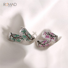 Romad Silver Earrings For Women Tree Green Red Stones Cubic Zirconia brincos Trendy Fashion Jewelry 2019 Statement W3