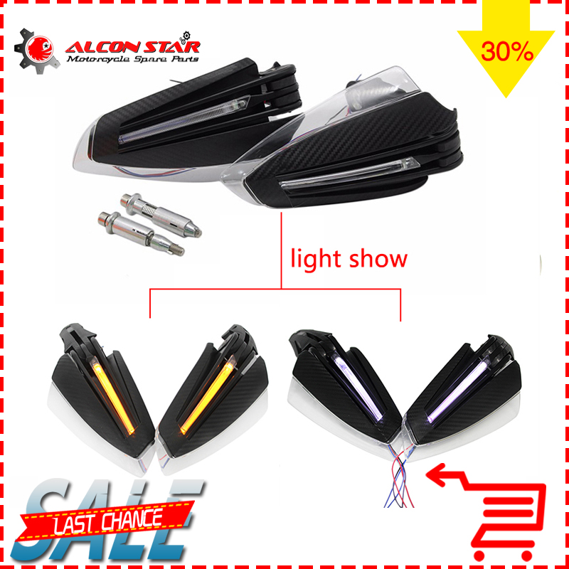 Alconstar 7 8 22mm Handlebar Hand Guard Protector with LED Turn Signal Motorcycle MX Motocross for