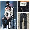 Лучшая версия 2017 Страх божий ТУМАН молнии тощий slim fit мужские Проблемных джастин бибер черный хлопок джинсы