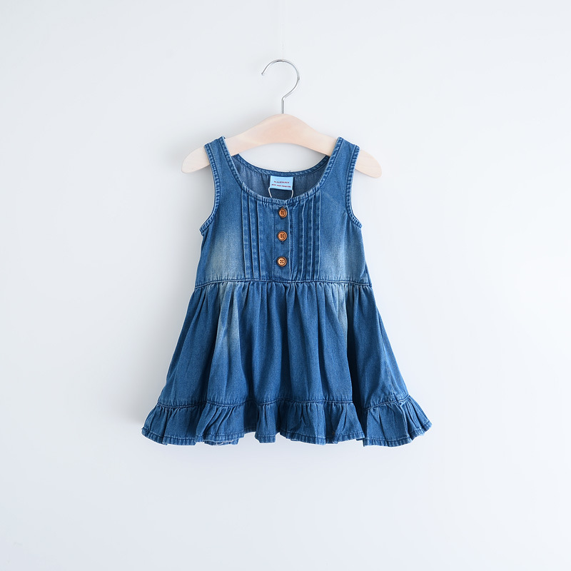 Children Girl Denim Dress Super Soft Washing Girls Vest Jeans Princess Dresses 1218