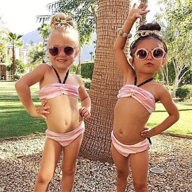 Dziewczynek stroje kąpielowe ubrania zestawy różowy pasiasty - Ubrania dziecięce - Zdjęcie 4