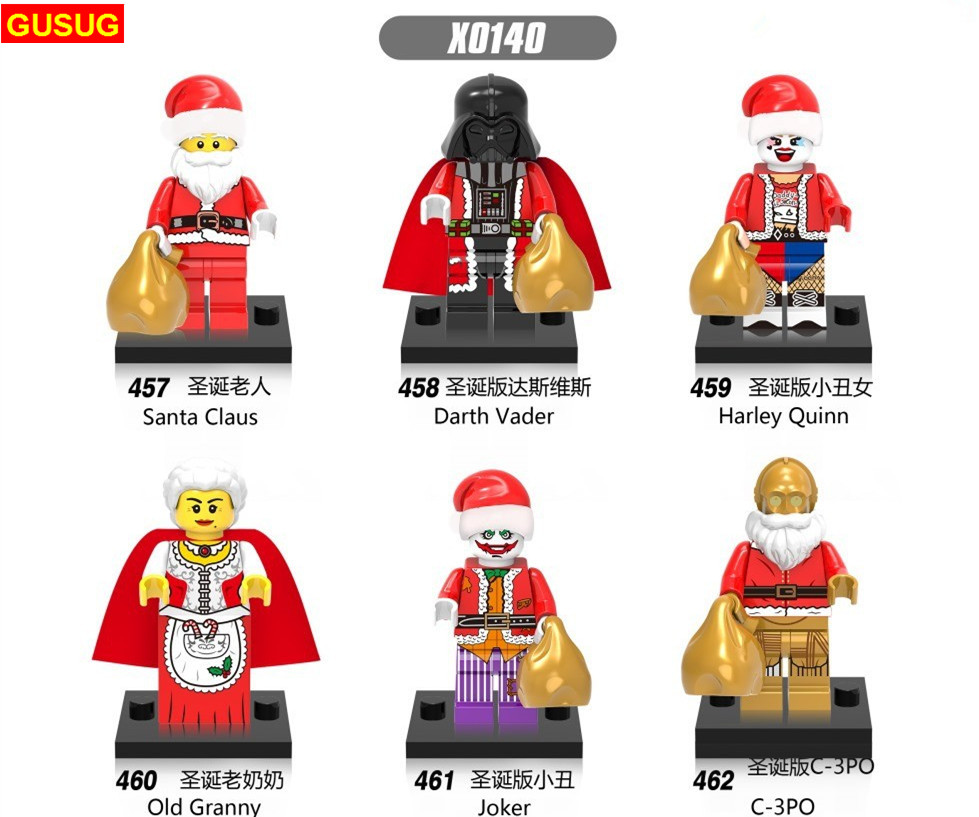 GUSUG 60pcs X0140 New Christmas Figures Harley Quinn Santa Claus Old Granny Joker C-3PO Darth Vader Building Blocks Toys